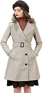Women's Slim Lapel Trench Coat Belted Khaki Jacket