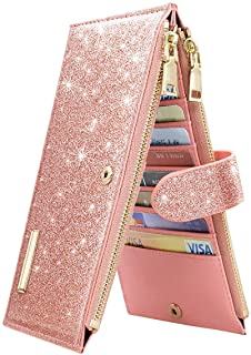 Coco Rossi Womens RFID Blocking Glitter Leather Multi Card Organizer Bifold Pink Wallet with Zipper Pocket,Rose Gold, long...