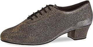 Diamant Femmes Chaussures de Danse/Chaussures d'Entraînement 093-034-509-A - Brocart Noir-Argent/Or - 3,7 cm Cuban - Made ...