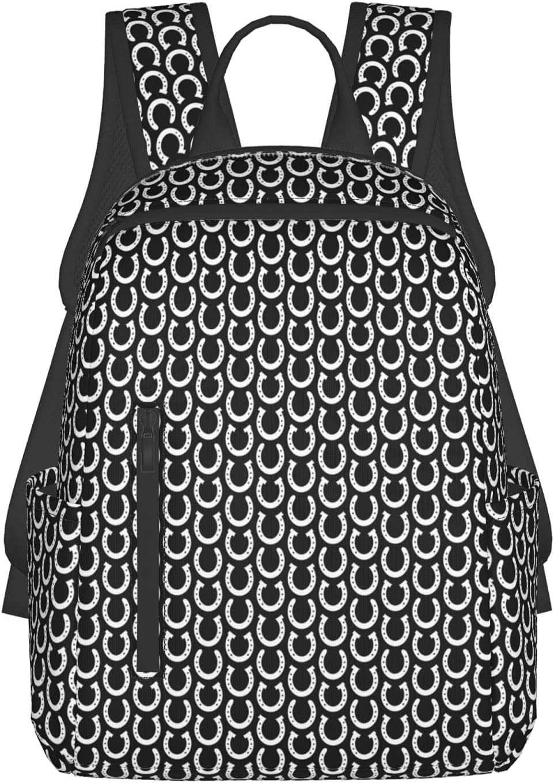 NiYoung Max 41% OFF White HorseshoesSchool Backpack Manufacturer regenerated product Bookbag Girls Travel Bag