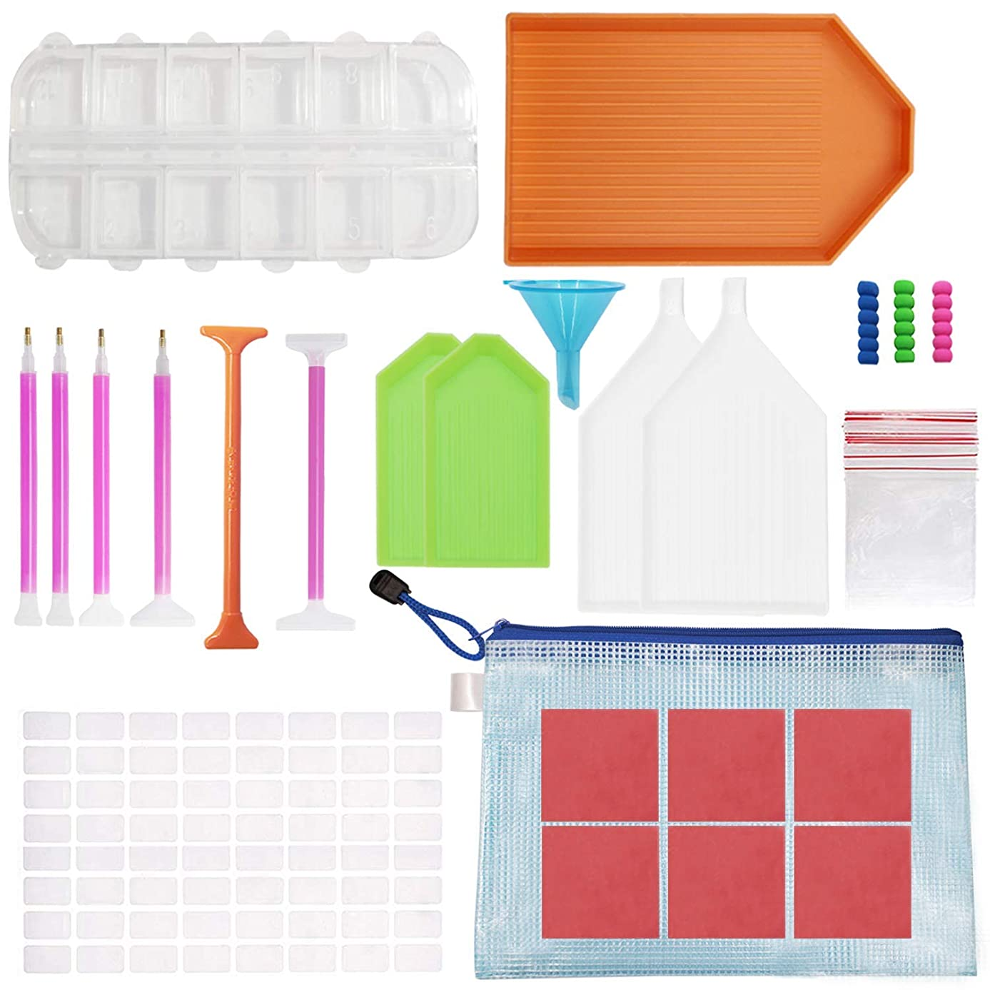 Bestlus 54 Pcs Diamond Painting Kits Tools Accessories for Adults Kids with 12 Slots Storage Containers