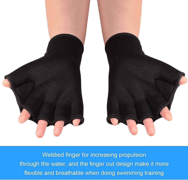 2 Pairs Swimming Gloves Aqua Fit Swim Training Gloves Neoprene Gloves Webbed Fitness Water Resistance Training Gloves for Swimming Diving with Wrist Strap