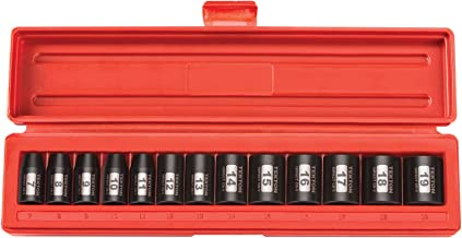 TEKTON 3/8-Inch Drive Shallow Impact Socket Set, Metric, Cr-V, 12-Point, 7 mm - 19 mm, 13-Sockets | 47916