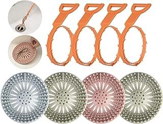 Feeke 8 Pack Hair Stopper Hair Catcher Drain Snake Drain Clog Remover Silicone Drain Covers Bathroom Hair Removal