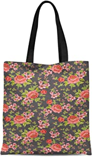 S4Sassy Red Leaves & Peony Floral Printed Canvas Large Tote Bag for Beach Shopping Groceries Books 16x12 Inches