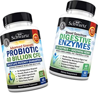 Probiotic 40 Billion CFU + Digestive Enzymes Supplement - Promotes Digestive Health - Supports a Healthy Immune System - P...