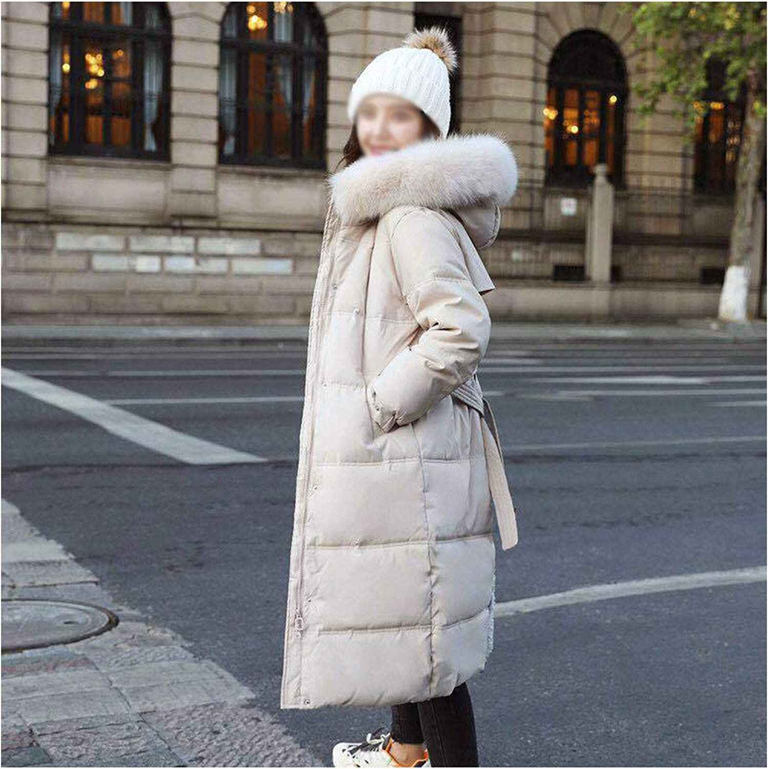 DALLL Women's Vegan Down Puffer Hooded Jacket,Full Long Thickened Winter Coat with Faux Fur,Classic Warm Parka for Ski,Beige,XL