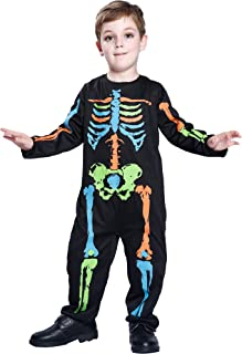 Boy's Halloween Skeleton Costume Zombie Jumpsuit Scary Dead Dress Up