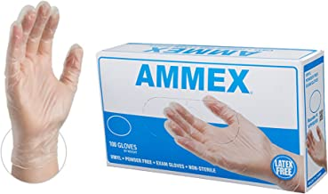 AMMEX Medical Clear Vinyl Gloves - 4 mil, Latex Free, Powder Free, Disposable, Non-Sterile, Medium, VPF64100-BX, Box of 100