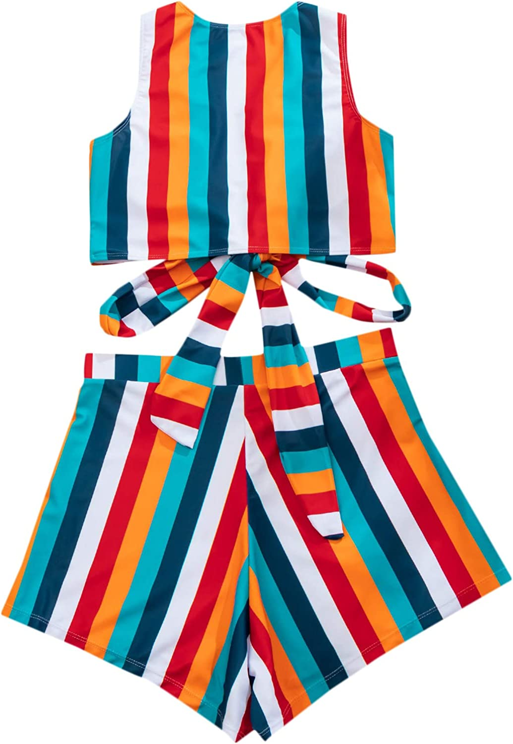 SOLY HUX Women's Striped Tie Knot Front High Waisted Bikini Bathing Suit 2 Piece Swimsuits
