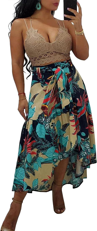 LAJIOJIO Women's Skirts, High Waist Bohemian Floral Printed Midi Skirt