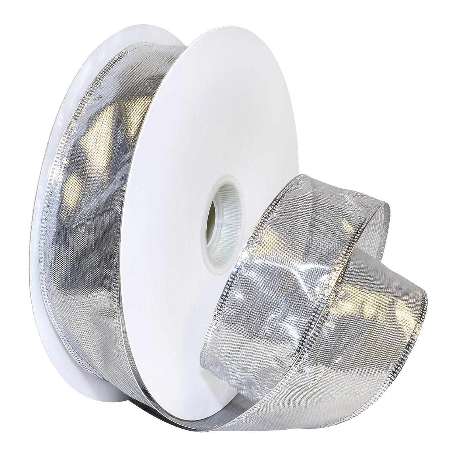 Morex Ribbon Gleam Wired Metallic Sheer Ribbon, 1.5-in x 50-Yd, Silver