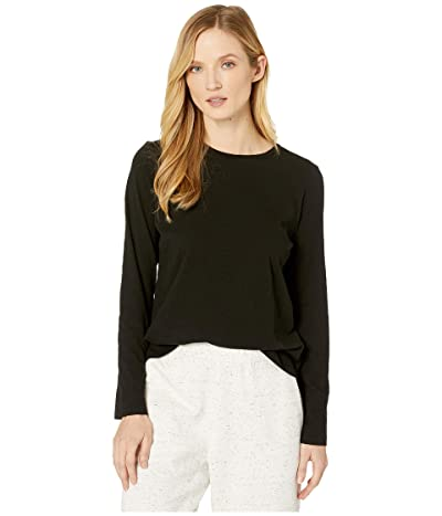Eileen Fisher Slubby Organic Cotton Jersey Round Neck Long Sleeve Top