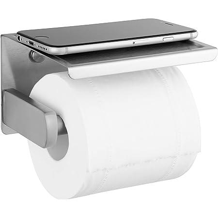 Polarduck Porte Papier Toilette Auto-adhésif, Support Papier Toilettes pour Salle de Bain et Cuisine, Acier Inox SUS 304, Porte Rouleau Toilette Pas de Forage 3m Auto-adhésif et fixé au mur, Argent