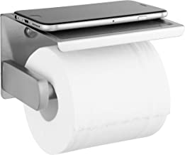 Polarduck Brushed Nickel Toilet Paper Holder, Self Adhesive Toilet Paper Roll Holder with Shelf, Wall Mounted Without Dril...