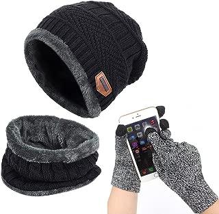 Winter Beanie Hat Scarf Set Warm Knit Hat Thick Knit Skull Cap Touch Screen Glove Unisex