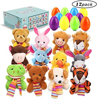 GIGALUMI 12 Pcs Filled Easter Eggs with 2.45'' Animal for Easter Basket Stuffers and Easter Egg Hunt Party Favor for Kids!