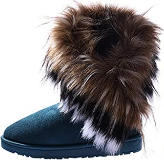 Tomsweet Women Winter Elegant Flat Heels Boots Ladies Warm Outdoor Ankle Suede Snow Boots Shoes