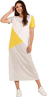 فستان MAI&FUN نسائي قصير الأكمام فستان طويل غير رسمي مقاس كبير برقبة مستديرة أبيض فضفاض
