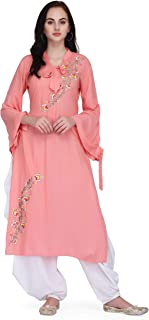 Pret A Porter Peaches Pink Colored Rayon Designer Kurti With Dhoti (Stitched)