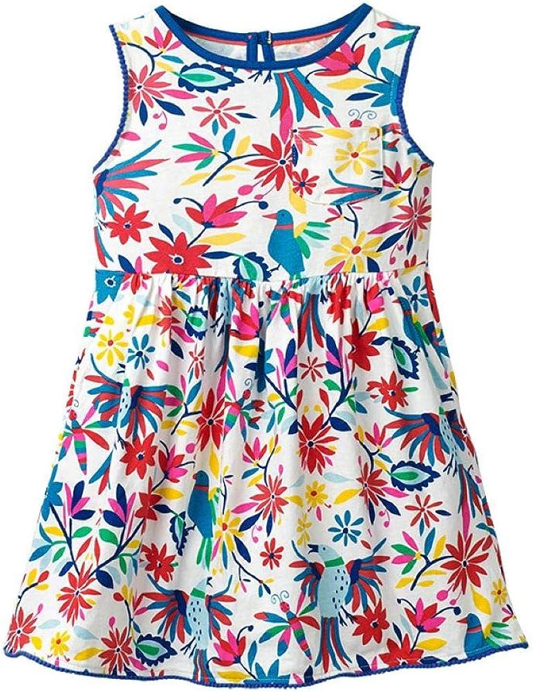 WRHPZW Little Girls Cotton Dress Sleeveless Casual Summer Sundress Flower Printed Jumper Skirt