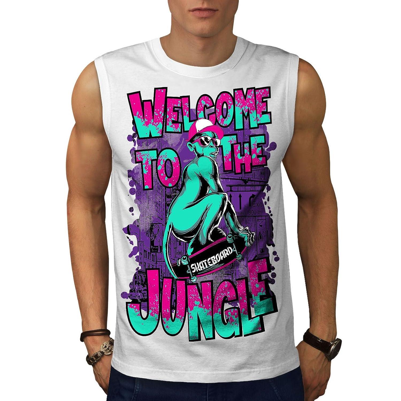Wellcoda モンキー アート ジャングル 動物 男性用 S-5XL 袖なしTシャツ