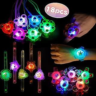 LED Favores de Fiesta para Niños Pulseras Luminosas Anillos Luminosos Collares para Niños Juguete Luminoso Premio para Estudiantes, Artículo de Cumpleaños, Suministro de Halloween Navidad, 18 Piezas