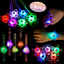 LED Favores de Fiesta Halloween para Niños Pulseras Luminosas Anillos Luminosos Collares para Niños Juguete Luminoso Premio para Estudiantes, Artículo de Cumpleaños, Suministro de Navidad, 18 Piezas