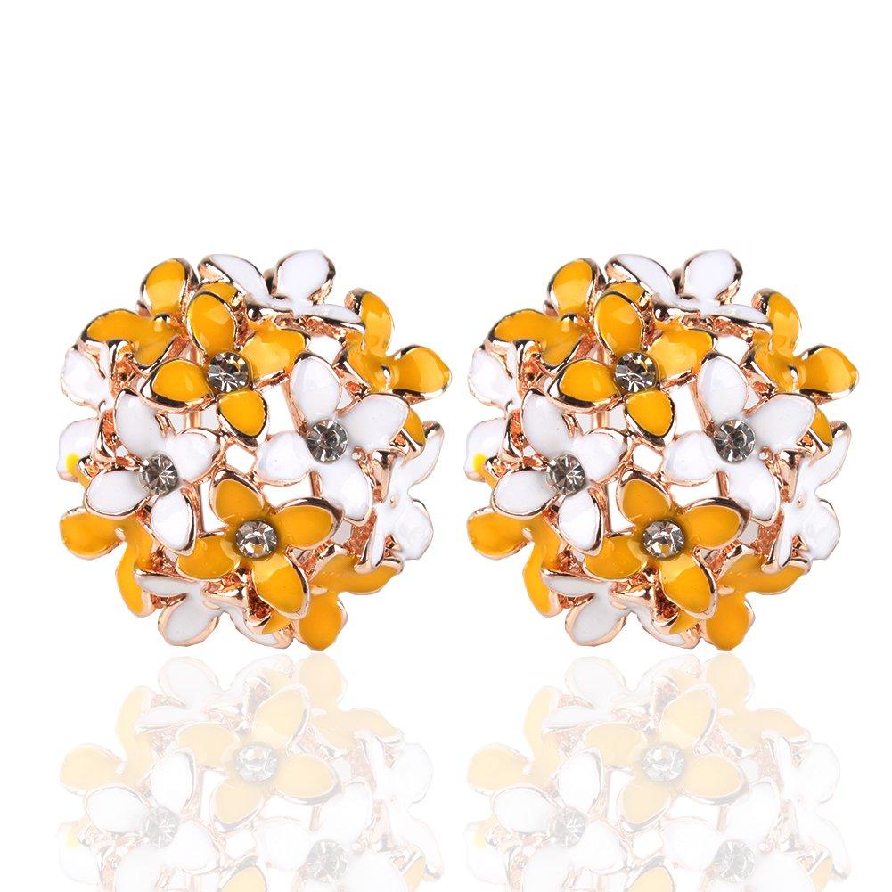 Ownsig Lady Charming Bloomy Four Leaf Clover Flowers Rhinestone Ear Stud Earrings Yellow