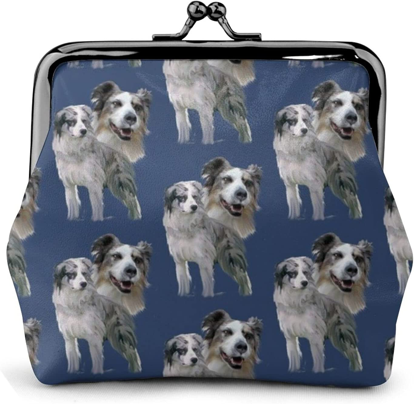 Blue Merle Australian 650 Coin Purse Retro Money Pouch with Kiss-lock Buckle Small Wallet for Women and Girls