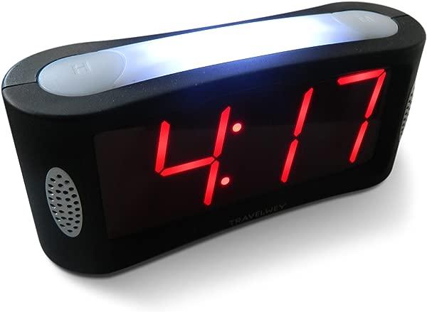 Travelwey Home LED Digital Alarm Clock Outlet Powered No Frills Simple Operation Large Night Light Alarm Snooze Full Range Brightness Dimmer Big Red Digit Display Black