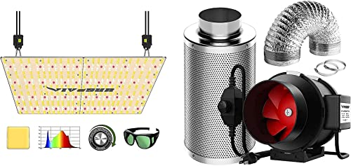 discount VIVOSUN VS4000 LED Grow Light with 6 discount Inch 390 CFM Inline Fan Package, Samsung & OSRAM Diodes, Full outlet online sale Spectrum, for Indoor Plants Growing sale