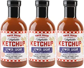 True Made Foods Vegetable Ketchup, Paleo Friendly, Non-GMO, Low Sugar, 18oz Glass Bottle, Pack of 3
