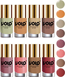 Volo High-Shine Long Lasting Non Toxic Professional Nail Polish Set of 8 (Mischievous Mint, Flirty Nude, Nude, Dark Nude, Nudes Spring, Candy Cotton, Dark Nude and Tan)