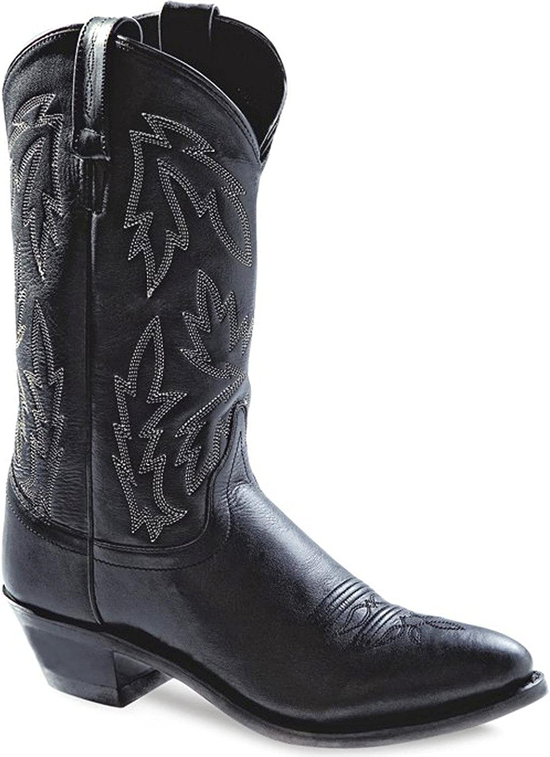 Old West Cowboy Boots Womens Narrow Round Neolite 6.5 M Black OW2010L