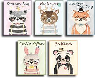 Nursery woodland animals watercolor wall art decor, baby, kids, boys and girls room print poster. Cute forest panda, deer,...