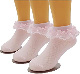 Girls Ruffle Lace Eyelet Frilly Ankle Dress Socks for Infant/Toddler/Girl