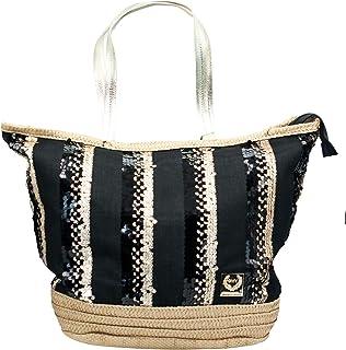 GMV GIANMARCO VENTURI Bolso de playa de verano para mujer y niña, negro, gran capacidad, base de paja, de tela con lenteju...