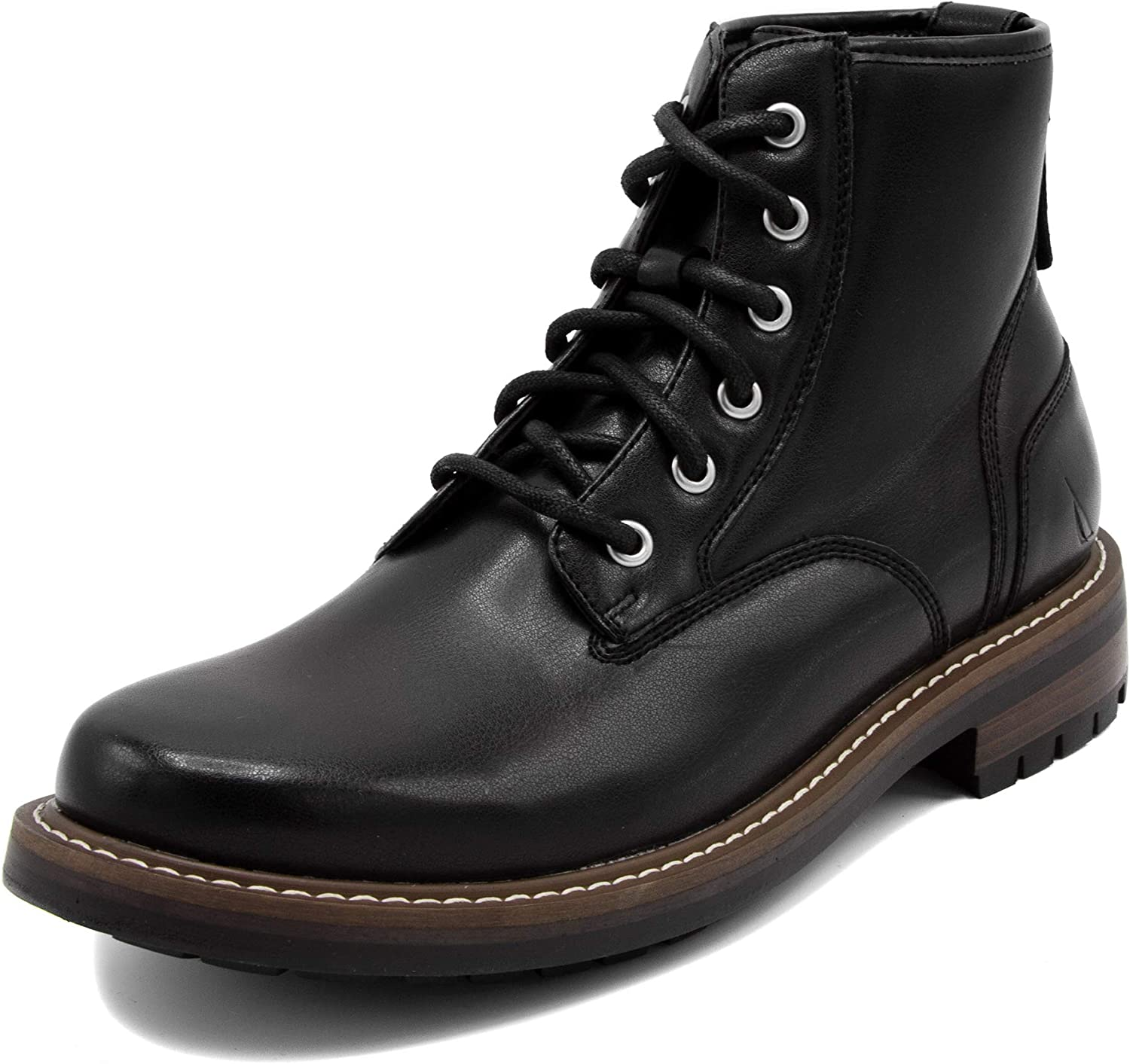 Nautica Men's Thurlow Lace Up Formal Dress Casual Fashion Boots Oxford Combat-Thurlow Boot-Black Burnish-7.5