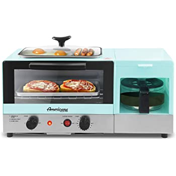 """Elite Gourmet Americana 2 Slice, 5.5"""" Griddle 3-in-1 Breakfast Center Station, 4-Cup Coffeemaker, Toaster Oven with 15-Min Timer, Heat Selector Mode, Blue"""