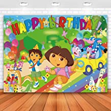 Allenjoy 7x5ft Dora Backdrop Birthday Party Backdrop for Photography Dora Explorer Backdrop Decorations for Party Dora Par...