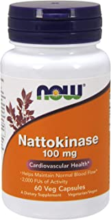 NOW Supplements, Nattokinase 100 mg (from Non-GMO Soy) with 2,000 FUs of Activity, 60 Veg Capsules