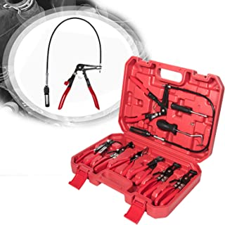 Opall 9pcs Wire Long Reach Hose Clamp Pliers Set Fuel Oil Water Hose Auto Tools