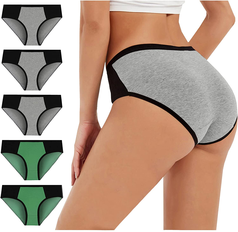 Women's High Waist Cotton Underwear Soft Breathable Ladies Panties No Muffin Stretch Briefs Plus Size 5 pcs