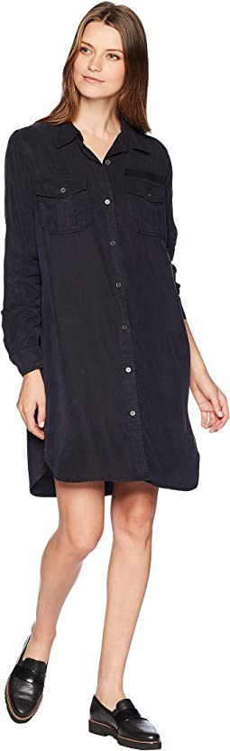 Long Sleeve Lightweight Tencel Two-Pocket Button Down Dress