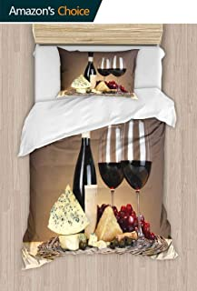 PRUNUSHOME Hotel Luxury Bed Sheet Set-Sale Still Life of Wine Cheese and Grapes on Wicker Tray on Wooden Table on Beige Background California King