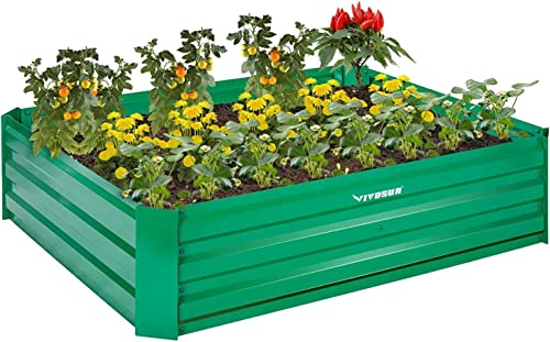discount VIVOSUN 4x3x1 ft Galvanized Raised Garden Beds with outlet sale Gloves for lowest Outdoor Gardening online sale