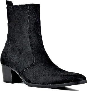 حذاء رسمي للرجال الكاحل تشيلسي كعب أنيق القتال عارضة المشي دراجة نارية سحّاب جانبي