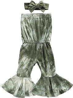 طفل الفتيات صبغ التعادل مجموعة حللا بلا أكمام قطع منخفض متوهج رومبير + عقال القوس عقدة (Color : Green, Kid Size : 12M)