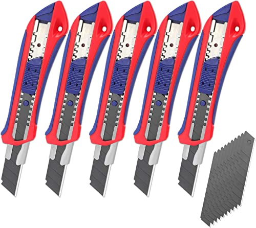 2021 WORKPRO Retractable Box Cutters, 18mm Snap-off Utility Knife, 5-pack Knives with outlet sale Extra 20 Sharp Blades for Heavy Duty Office, online Home, Arts Crafts, Hobby online